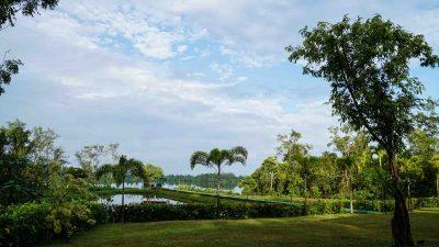 Ayurveda Resort Gartenanlage gruene Natur mit Teich