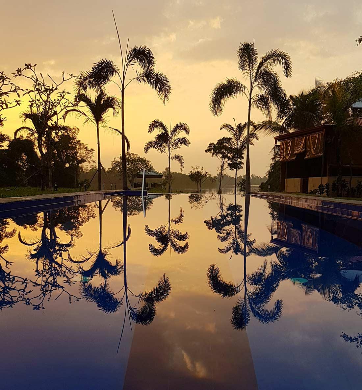 Ayurveda Resort Pool mit spiegelnden Palmen Villa Raphael