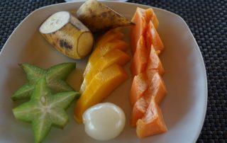 Ayurveda Resort Mahlzeiten Früchteplatte zum Dessert Bentota Sri Lanka