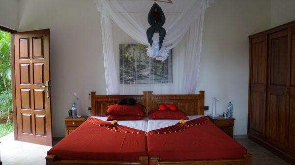 Ayurveda Resort Zimmer Bettdekoration Affe mit Blumen Faecher Sri Lanka