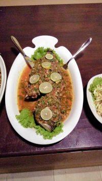 Ayurveda Resort Fisch an wuerziger Sauce am Neujahrsbuffet der Villa Raphael