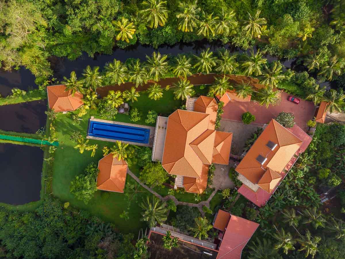 Ayurveda-Resort - Drohnenbild der ganzen Anlage