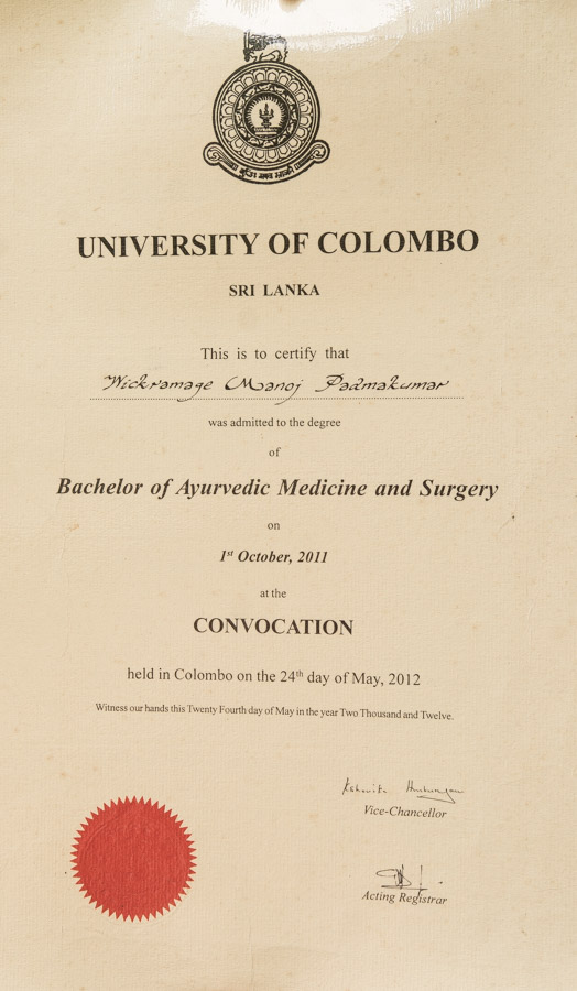 Bachelor of Ayurvedic Medicine and Surgery, University Colombo