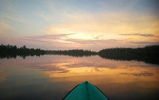 Kajaken im Sonnenaufgang Sri Lankas